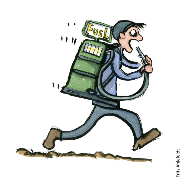 Drawing of hiker with a fuel station on his back as backpack. and hose in mouth. Hiking illustration and idea by Frits Ahlefeldt