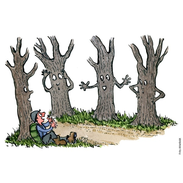 Drawing of a hiker talking with trees, Hiking illustration handmade by Frits Ahlefeldt