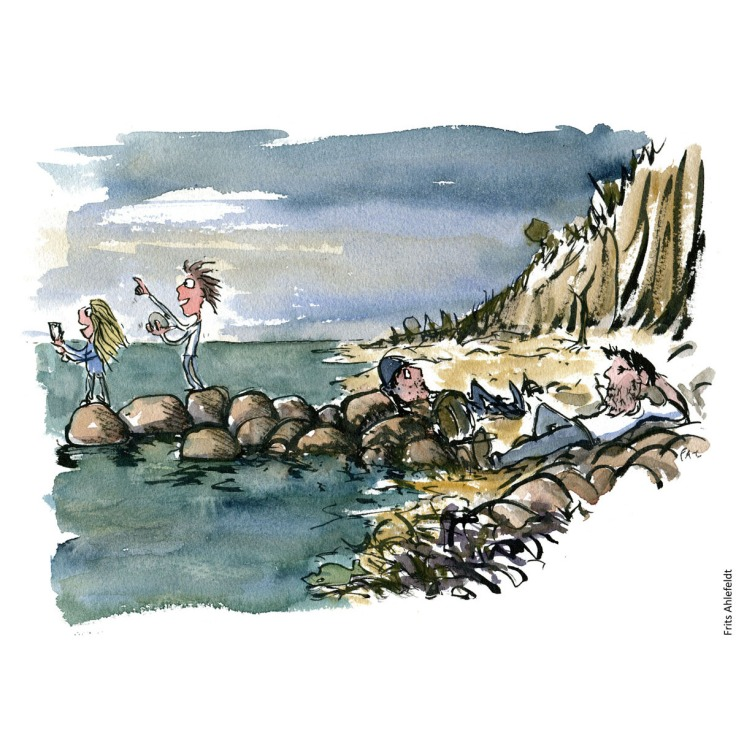 Drawing of a group talking a break at the coast. Hiking illustration handmade by Frits Ahlefeldt