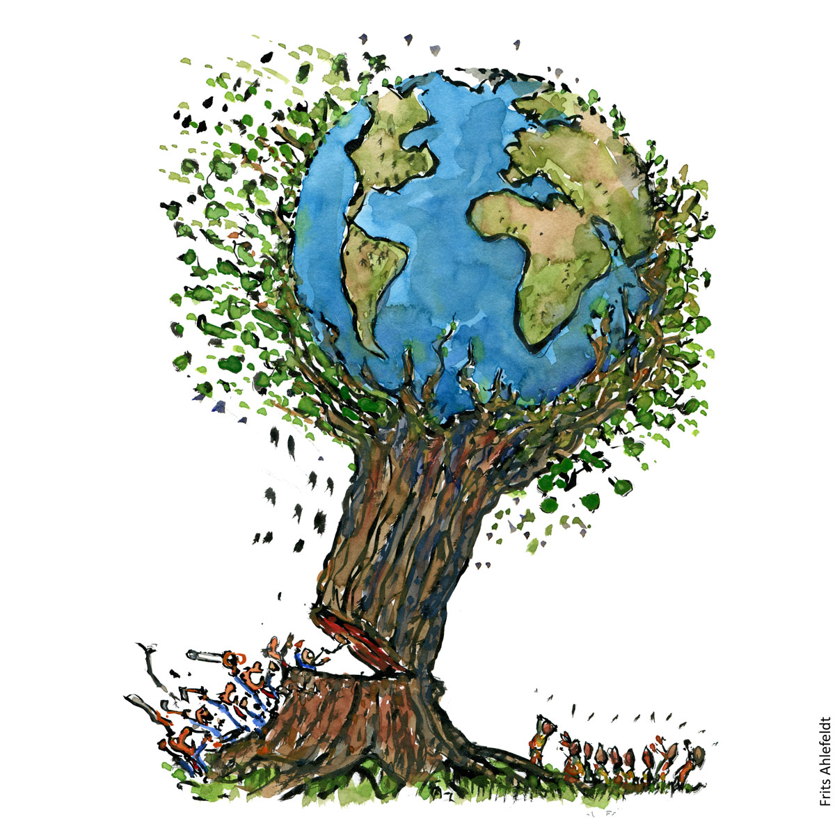 Drawing of a tree with planet Earth and a group of business people chopping it down. While a group of locals see as it falls towards them. environment illustration handmade by Frits Ahlefeldt