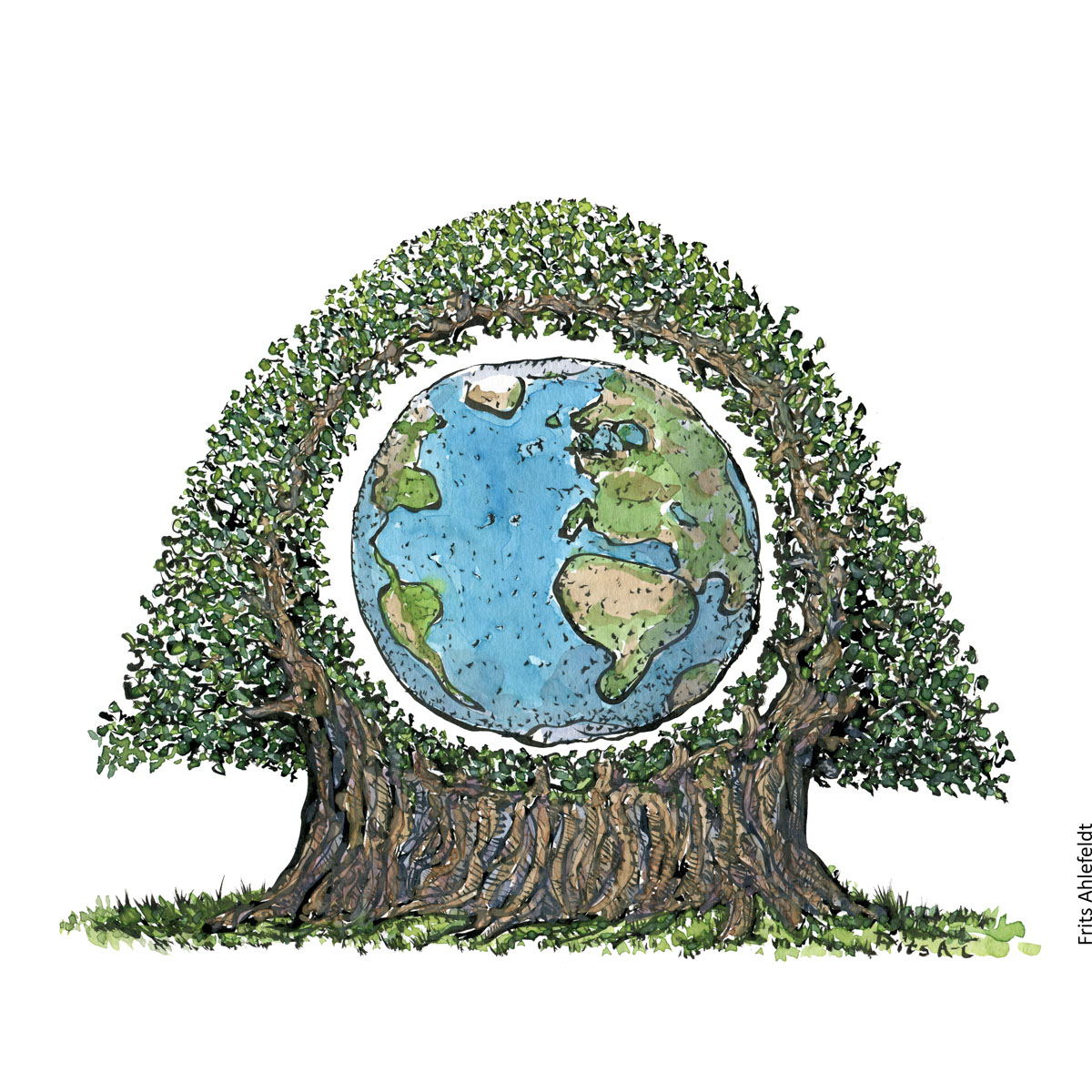 Drawing of Earth planet. inside a huge tree. Environment illustration handmade by Frits Ahlefeldt