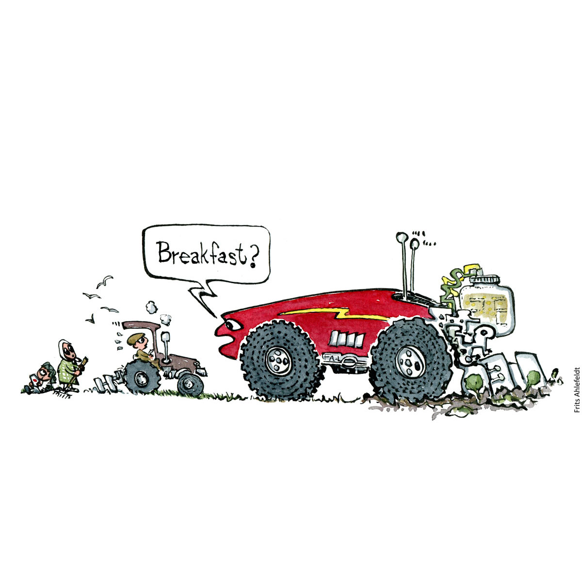 "Drawing of a self-driving AI tractor, asking farmer ""breakfast"". Technology illustration handmade by Frits Ahlefeldt"