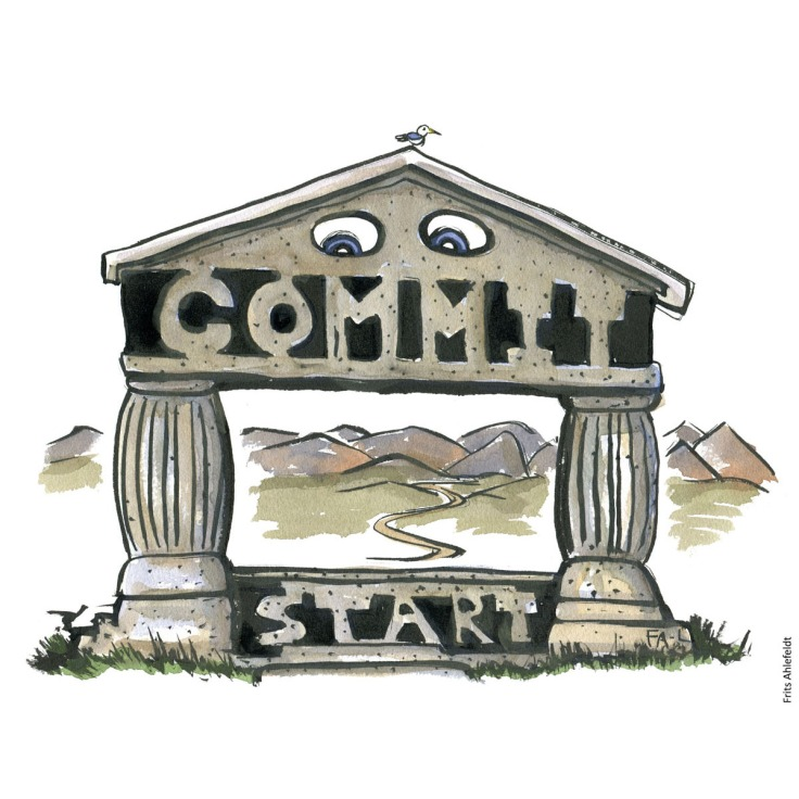 "Drawing of a gate at the start of a trail, with text ""commit"" illustration handmade by Frits Ahlefeldt"
