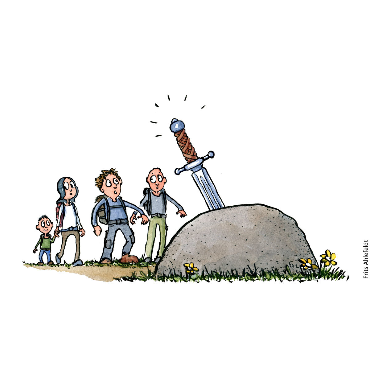 Drawing of hikers by a stone with a sword in it. Hiking illustration handmade by Frits Ahlefeldt