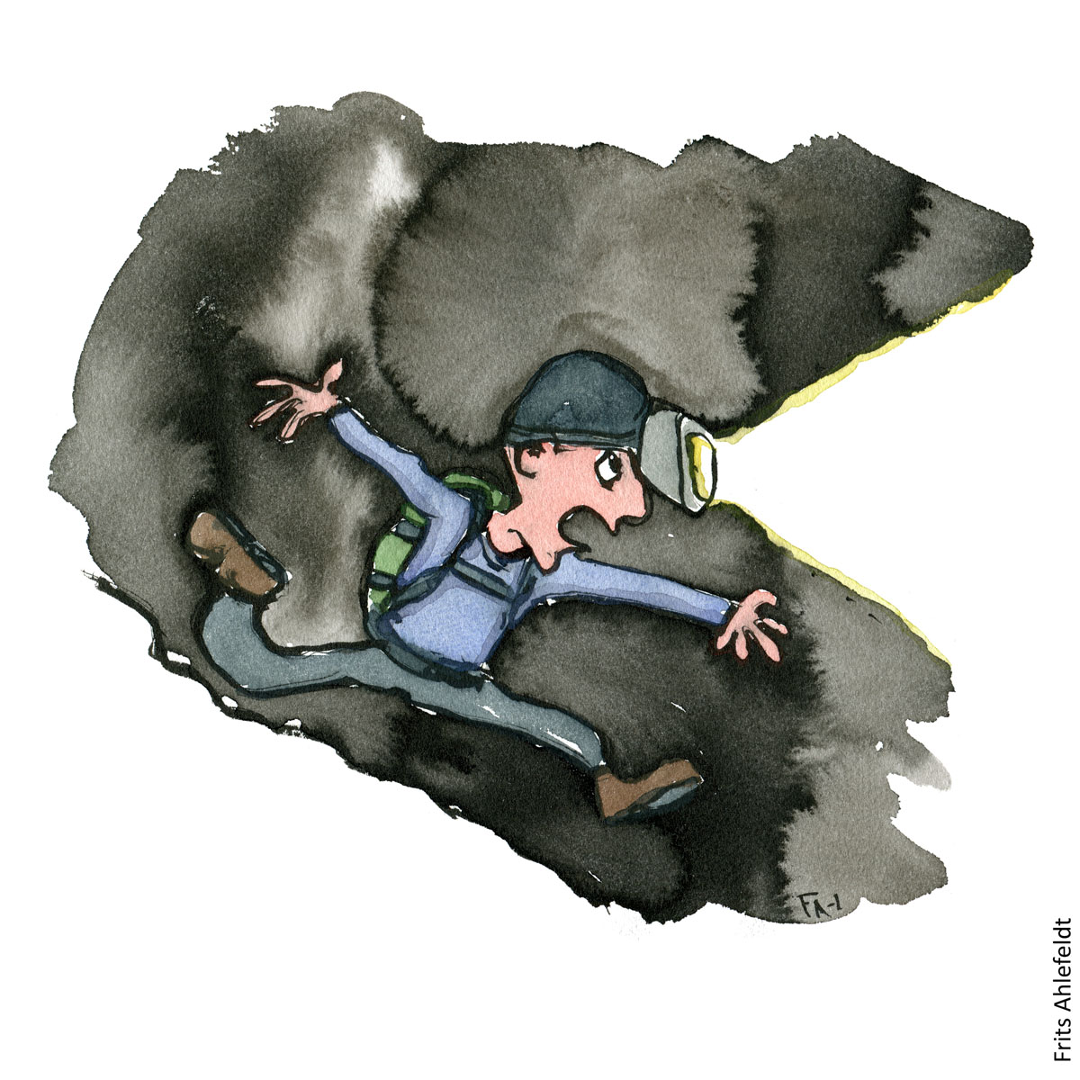 Drawing of a hiker with headlamp running in the dark. Hiking illustration handmade by Frits Ahlefeldt