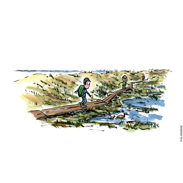 Drawing of hiker walking along boardwalk by coast. Hiking illustration by Frits Ahlefeldt