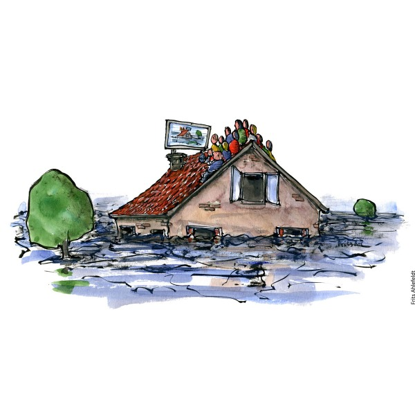 Drawing of a house in water, with people sitting on roof. Watching a huge monitor. Climate change and technology illustration by Frits Ahlefeldt