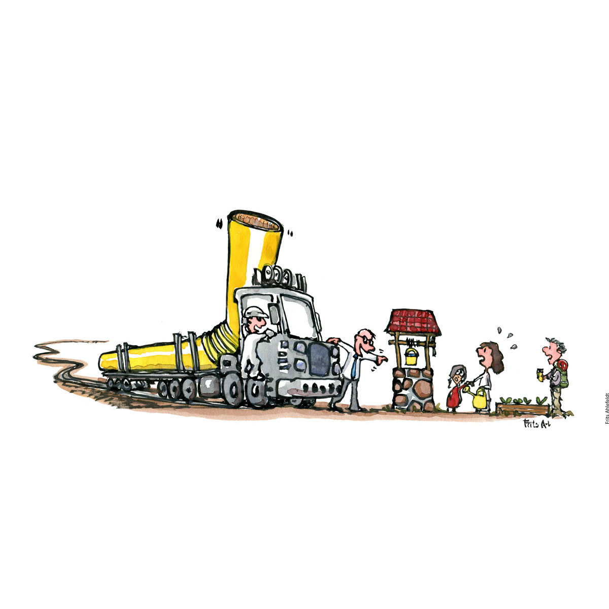 Drawing of a truck with a long pipe like straw. and a businessman pointing at well, where locals and hikers get water. Resource illustration by Frits Ahlefeldt