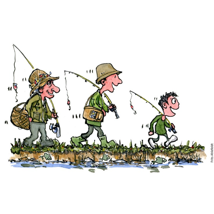 Drawing of an old man, an younger man and a boy going fishing together. Thrive and relationships. Handmade color illustration by Frits Ahlefeldt