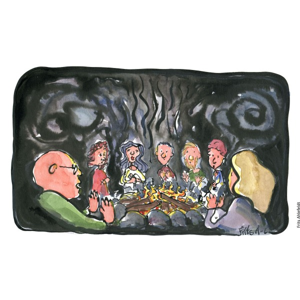 Drawing of a group sitting around a campfire. Handmade color thrive illustration by Frits Ahlefeldt