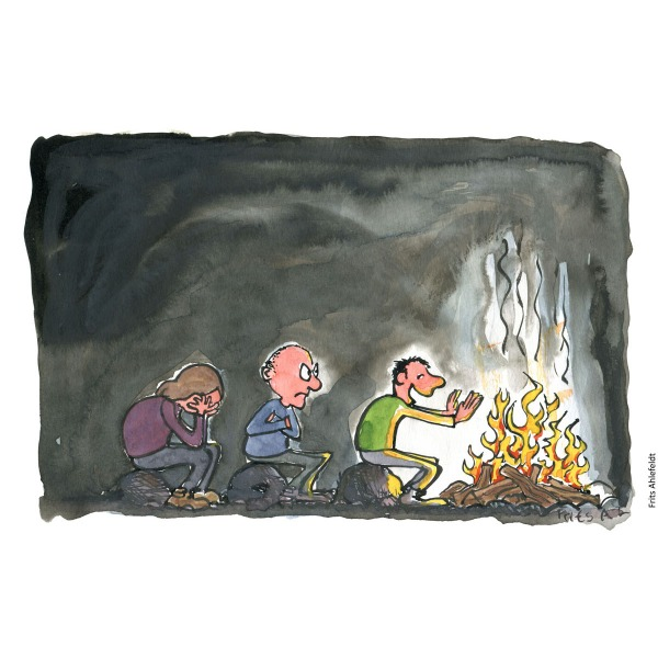 Drawing of a group of people lined up in cue in front of a campfire, with only first one happy. Handmade color illustration by Frits Ahlefeldt
