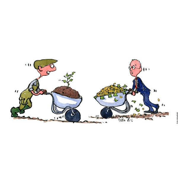 Drawing of a farmer with a wheelbarrow with a sprout in it, meeting a businessman with a wheelbarrow with money in it. Sustainability and resources. Handmade color illustration by Frits Ahlefeldt