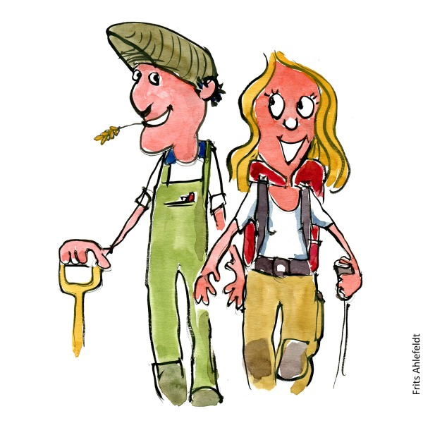 Drawing of a farmer and hiker walking together. FarmHandmade color illustration by Frits Ahlefeldting and hiking.