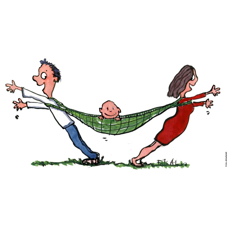 Drawing of a man and woman with an hammock between them with a kid in. Parenting, mother, children, father. Handmade color illustration by Frits Ahlefeldt