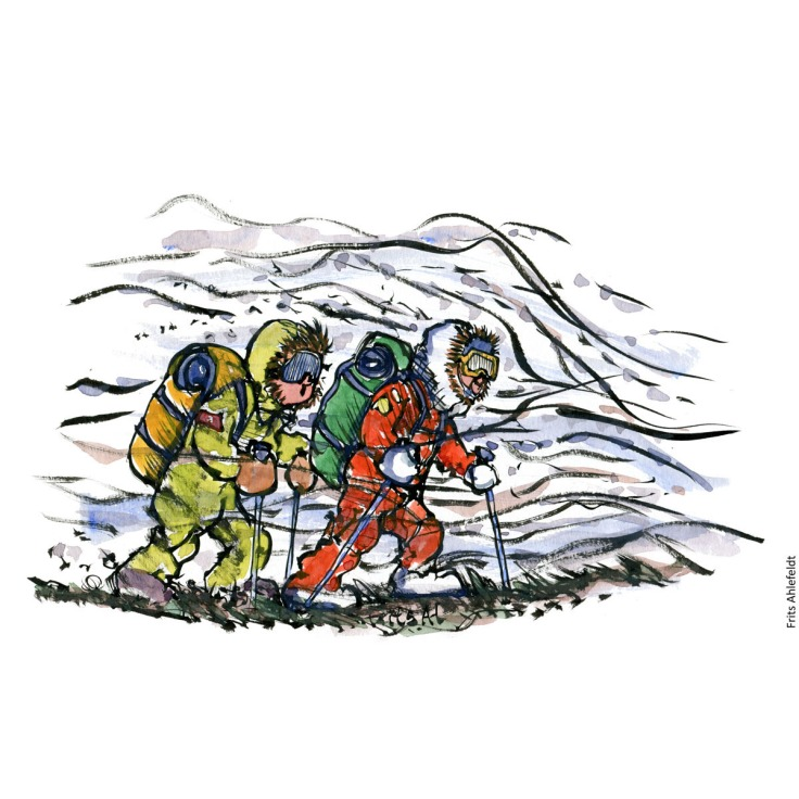 Drawing of two expedition hikers in storm. Handmade color illustration by Frits Ahlefeldt