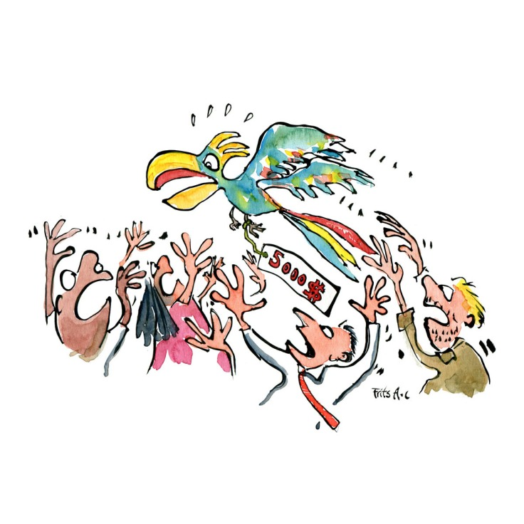 Drawing of group of people chasing a parrot with a pricetag on it. Endangered species, biodiversity and trafficking. Resources and Environment. Handmade color illustration by Frits Ahlefeldt