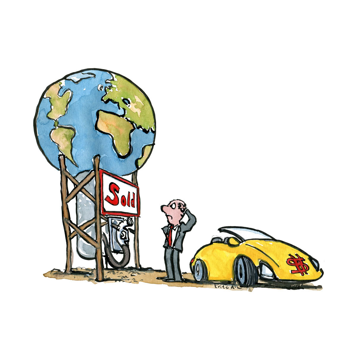 Drawing of gasoline pump with Planet Earth as fuel, and angry businessman with fast car looking frustrated. Resources and Environment. Handmade color illustration by Frits Ahlefeldt