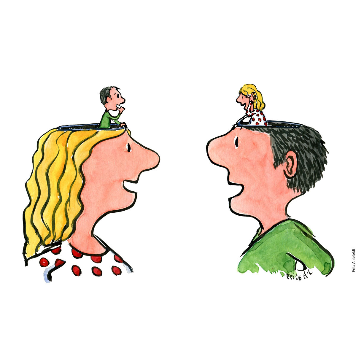 Drawing of two persons, woman and man. With a tiny version of each other on top of the head, but in the head of the other. Empathy and mirror talks focus. Handmade color illustration by Frits Ahlefeldt