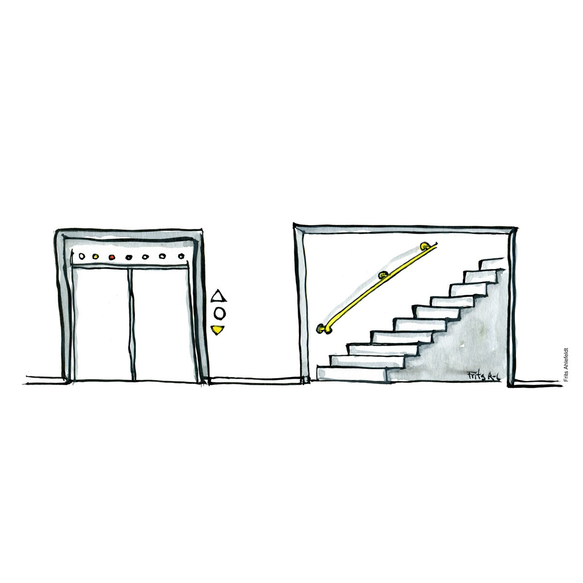 Drawing of an elevator and a stairway. Choices and mindsets. Handmade color illustration by Frits Ahlefeldt