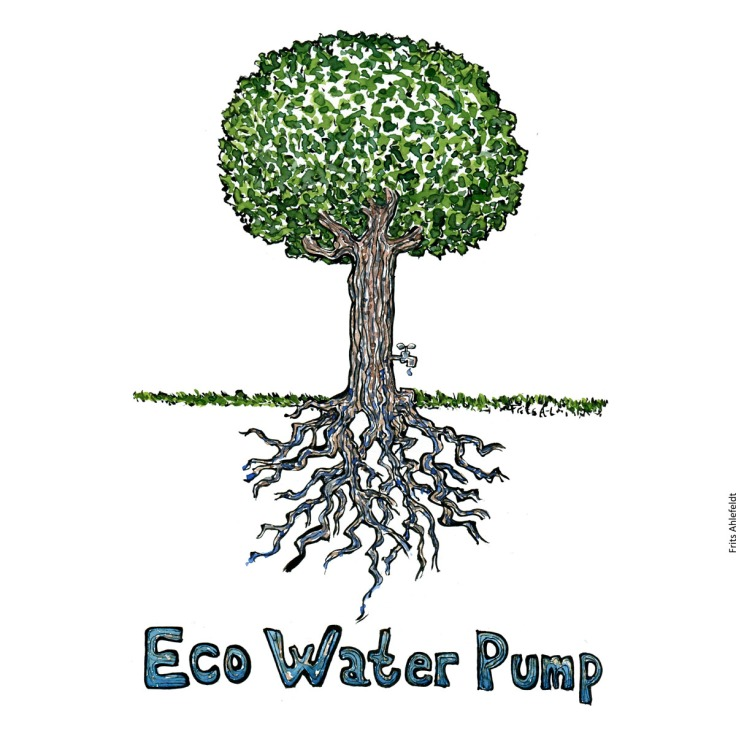 """Drawing of a tree with a tap with water and the name """"eco water pump"""". Trees, resources and water focus. Handmade color illustration by Frits Ahlefeldt"""