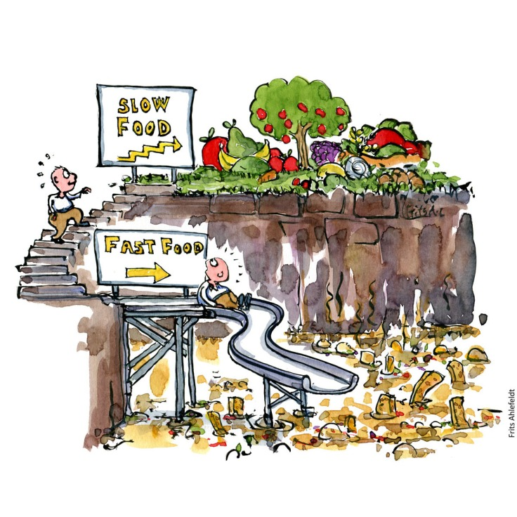 Drawing of a man in a place with a slide going into a swamp of fastfood, and a stairway heading up at Slowfood. Health and nutrition. Handmade color illustration by Frits Ahlefeldt