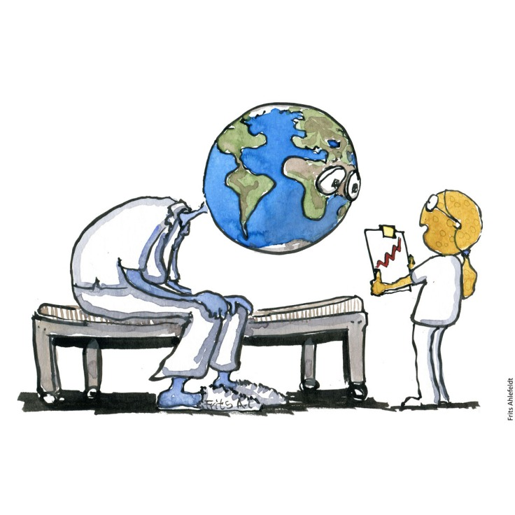 Drawing of a very sick and tired planet Earth and the Moon as nurse with a status report. Environment and health. Handmade color illustration by Frits Ahlefeldt