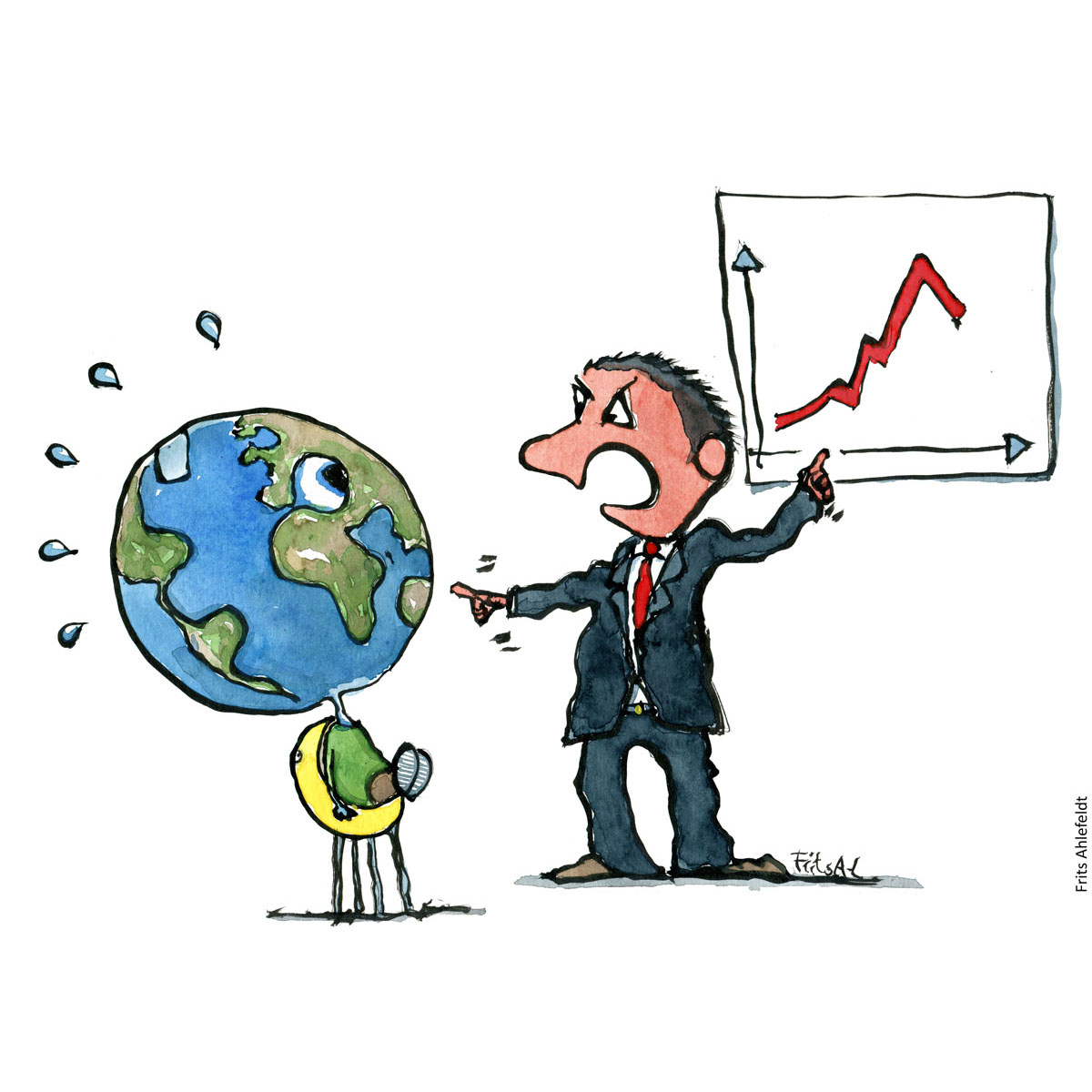 Drawing of Planet Earth and businessman. Businessman complaining about the results. Environment and resources. Handmade color illustration by Frits Ahlefeldt