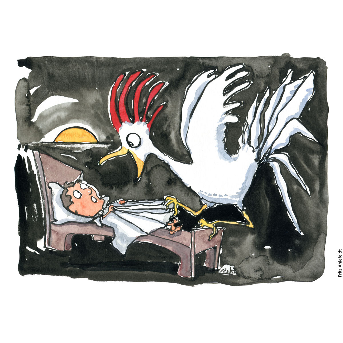 Drawing of a roaster on the end of a bed and the sun coming up. Morning. Handmade color illustration by Frits Ahlefeldt