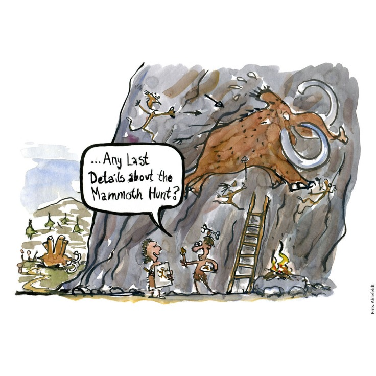 "Drawing of two prehistoric cavemen. One painting a mammoth on a wall, asking: ""Any last details about the mammoth hunt"". Drawn Journalism focus. Handmade color illustration by Frits Ahlefeldt"