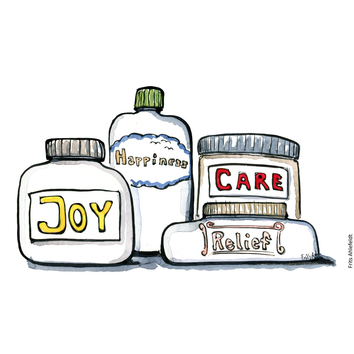 "Drawing of jars of pills with names on them: ""Joy"" ""Happiness"", ""care"" ""relief"". Medicine, feelings and recovery. Handmade color illustration by Frits Ahlefeldt"