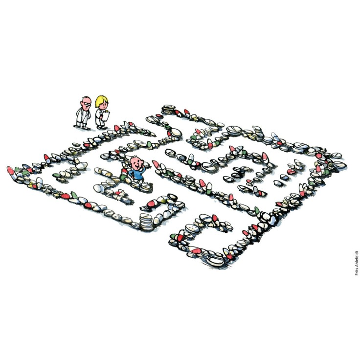 Drawing of a maze of pills and a person in it while medical personal takes notes. Medicine and recovery focus. Handmade color illustration by Frits Ahlefeldt