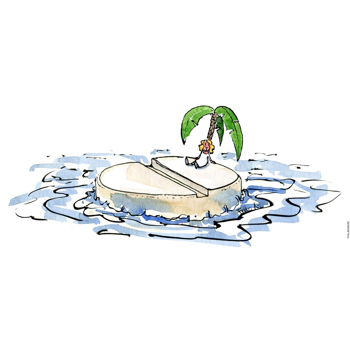 Drawing of an island made out of a pill and a lonely person sitting under a palm tree. Drugs. handmade color illustration by Frits Ahlefeldt