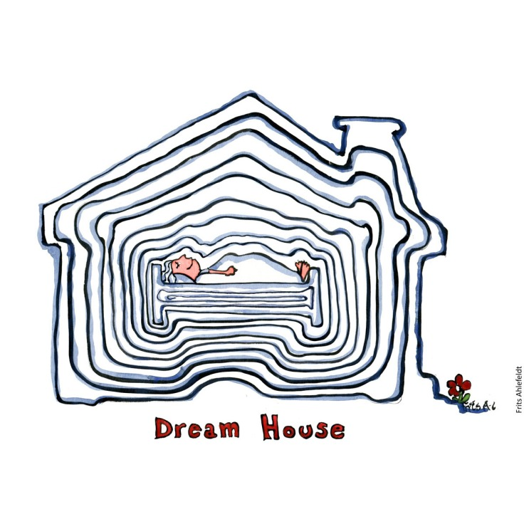 """Drawing of a house with a bed, made up of lines. Text: """"Dream house"""" handmade color illustration by Frits Ahlefeldt"""