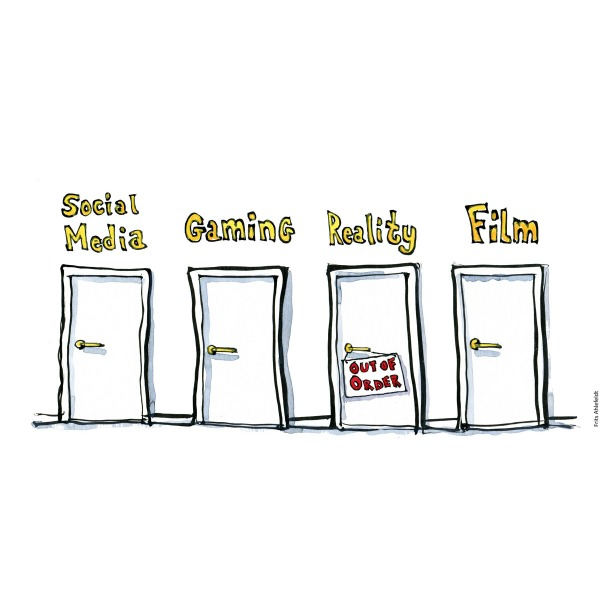 "Drawing of four doors with names: Social media, Gaming, Reality, Film. Reality has an ""out of order"" sign on it. handmade color illustration by Frits Ahlefeldt"