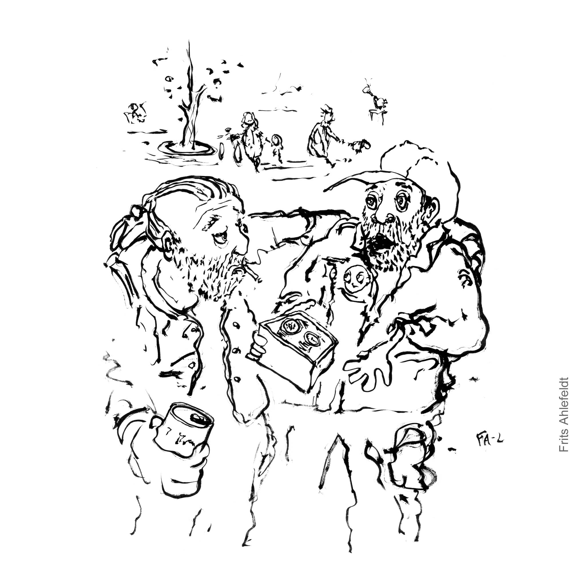 Two men in park one trying to sell the other a watch. Illustration by Frits Ahlefeldt - Black and white version