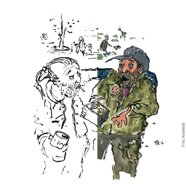 Two men in park one trying to sell the other a watch. Illustration by Frits Ahlefeldt - spit-version