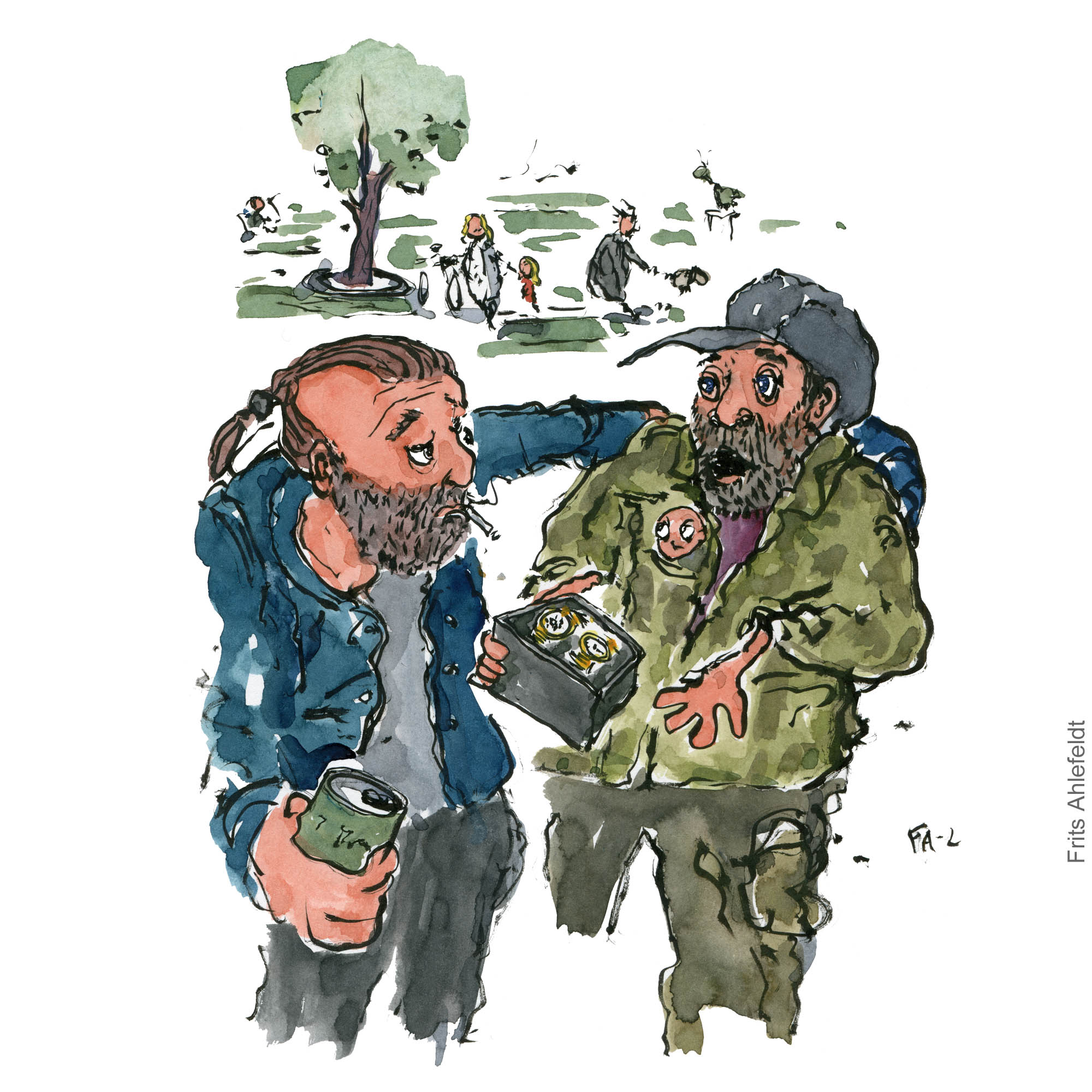 Two men in park one trying to sell the other a watch. Illustration by Frits Ahlefeldt - color version
